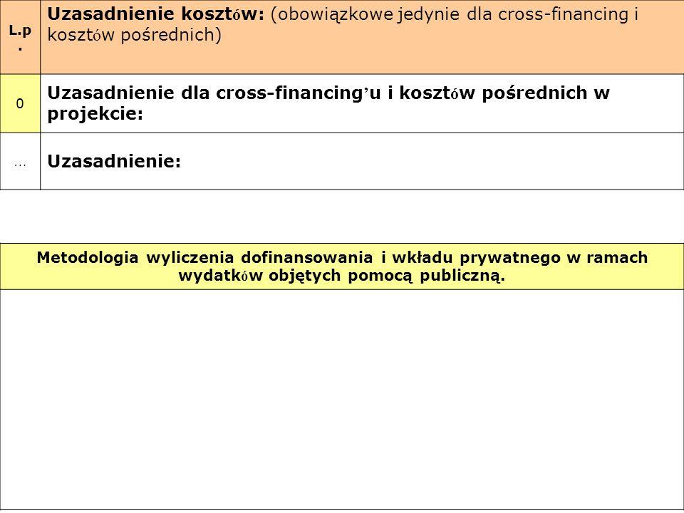 L.p. Uzasadnienie koszt ó w: (obowiązkowe jedynie dla cross-financing i koszt ó w pośrednich) 0 Uzasadnienie dla cross-financing u i koszt ó w pośredn