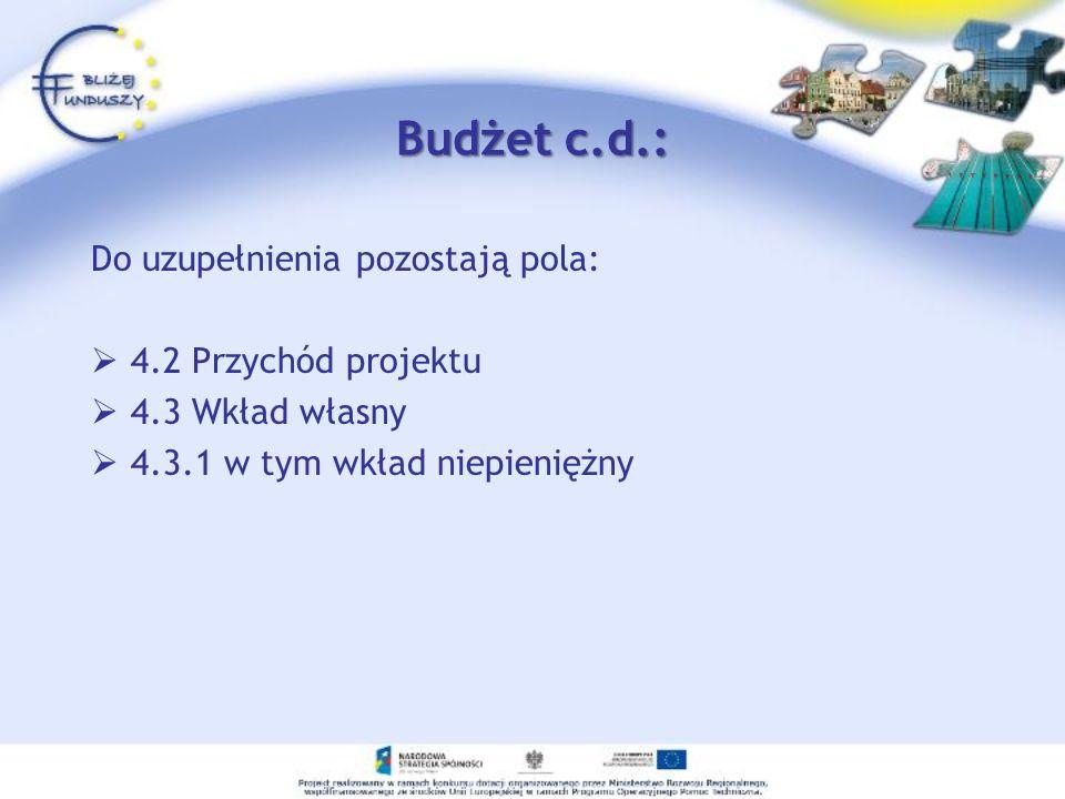 Budżet c.d.: Do uzupełnienia pozostają pola: 4.2 Przychód projektu 4.3 Wkład własny 4.3.1 w tym wkład niepieniężny