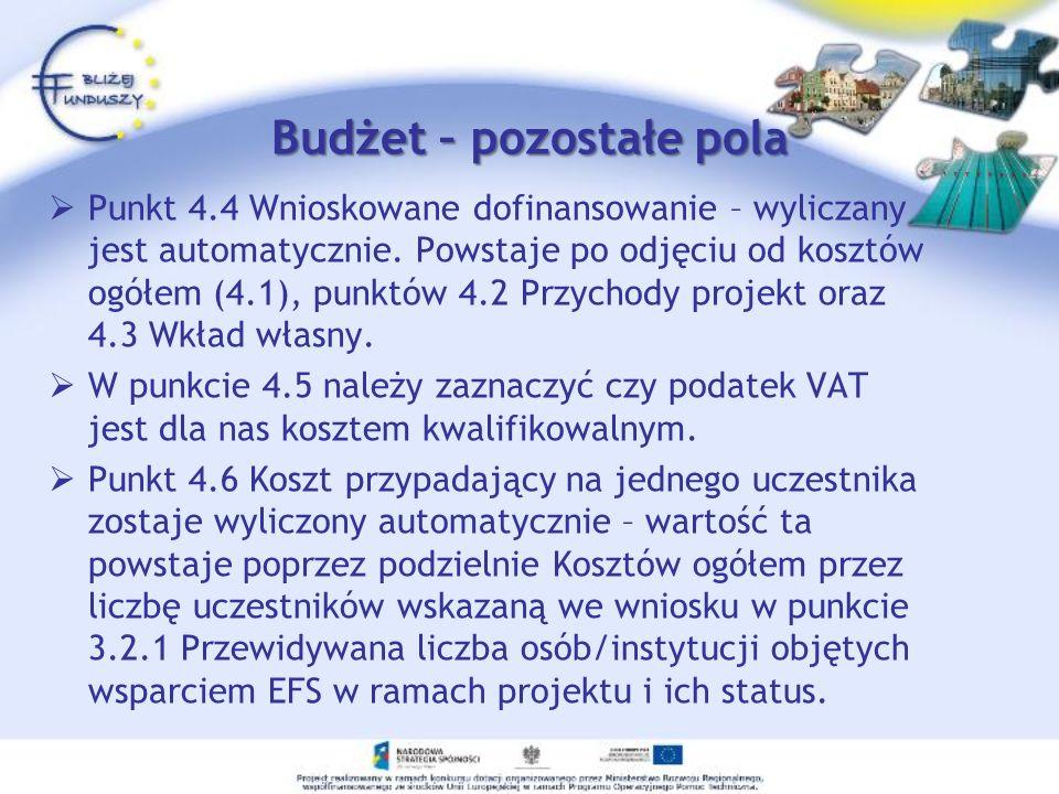 Budżet – pozostałe pola Punkt 4.4 Wnioskowane dofinansowanie – wyliczany jest automatycznie. Powstaje po odjęciu od kosztów ogółem (4.1), punktów 4.2