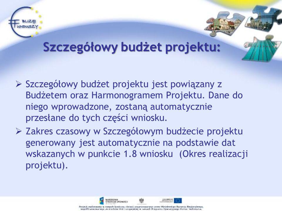 Szczegółowy budżet projektu: Szczegółowy budżet projektu jest powiązany z Budżetem oraz Harmonogramem Projektu. Dane do niego wprowadzone, zostaną aut