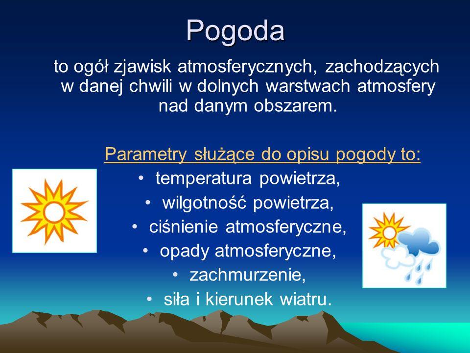 Pogoda to ogół zjawisk atmosferycznych, zachodzących w danej chwili w dolnych warstwach atmosfery nad danym obszarem. Parametry służące do opisu pogod