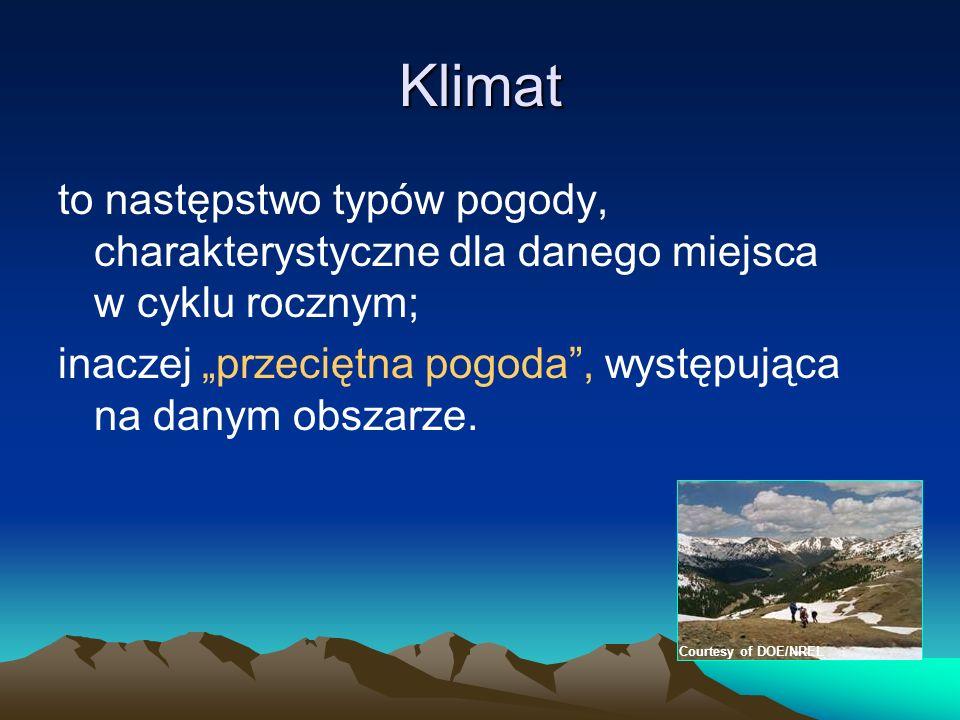 Klimat to następstwo typów pogody, charakterystyczne dla danego miejsca w cyklu rocznym; inaczej przeciętna pogoda, występująca na danym obszarze. Cou