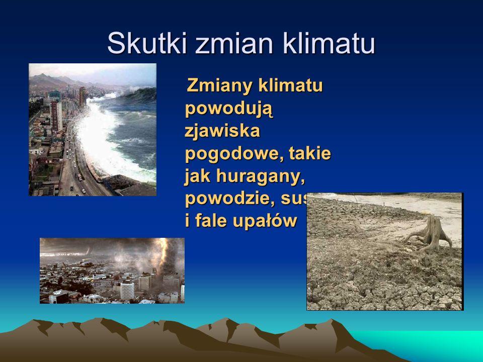 Skutki zmian klimatu Zmiany klimatu powodują zjawiska pogodowe, takie jak huragany, powodzie, susze i fale upałów Zmiany klimatu powodują zjawiska pog