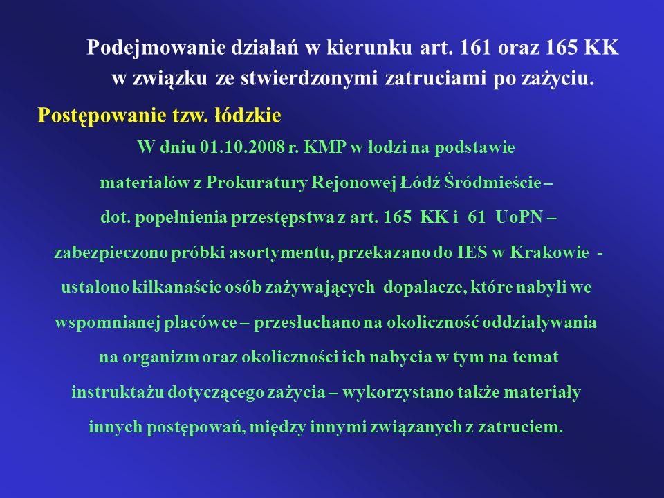 Podejmowanie działań w kierunku art. 161 oraz 165 KK w związku ze stwierdzonymi zatruciami po zażyciu. Postępowanie tzw. łódzkie W dniu 01.10.2008 r.