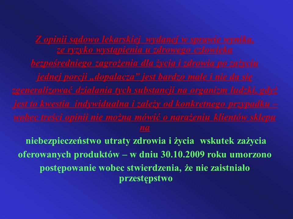 Z opinii sądowo lekarskiej wydanej w sprawie wynika, ze ryzyko wystąpienia u zdrowego człowieka bezpośredniego zagrożenia dla życia i zdrowia po zażyc