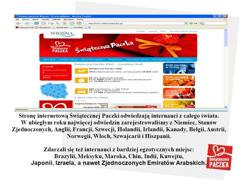 Stronę internetową Świątecznej Paczki odwiedzają internauci z całego świata. W ubiegłym roku najwięcej odwiedzin zarejestrowaliśmy z Niemiec, Stanów Z