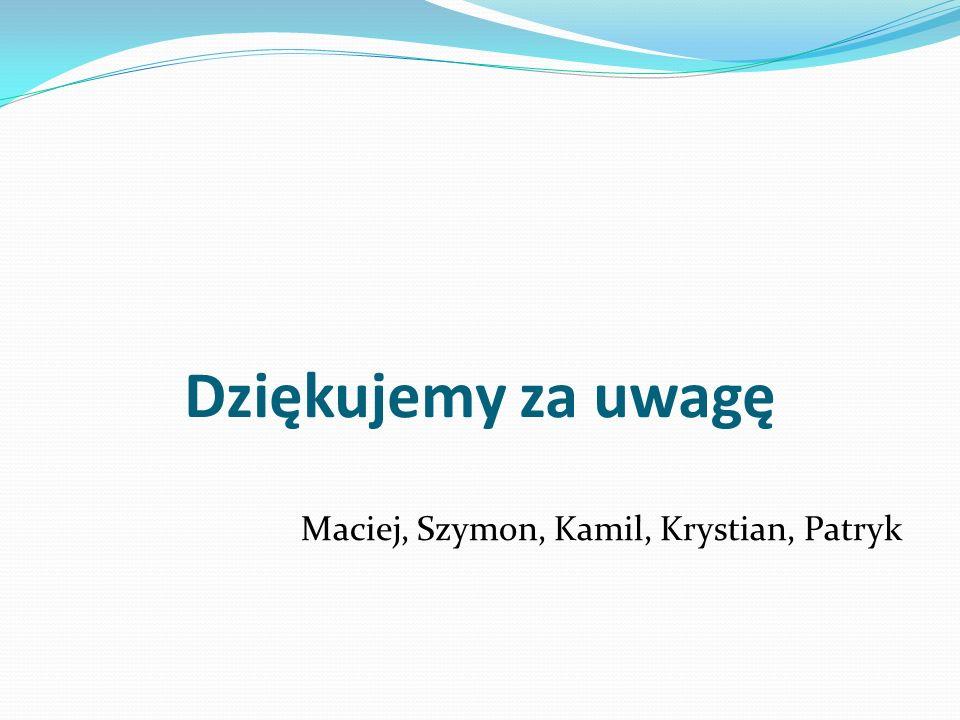 Dziękujemy za uwagę Maciej, Szymon, Kamil, Krystian, Patryk