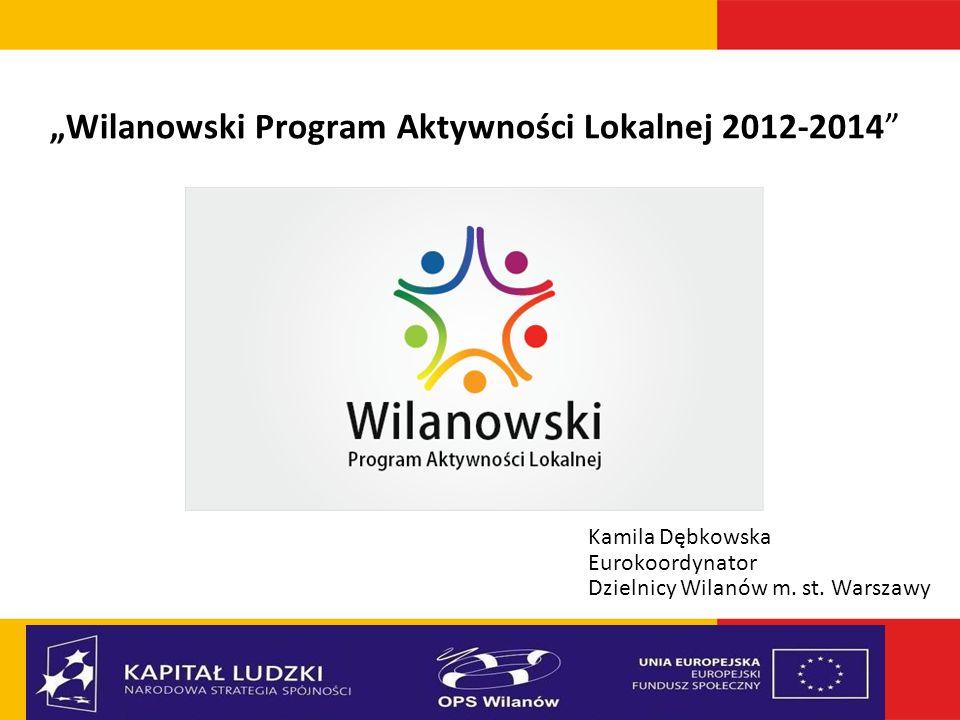 Wilanowski Program Aktywności Lokalnej 2012-2014 Kamila Dębkowska Eurokoordynator Dzielnicy Wilanów m. st. Warszawy
