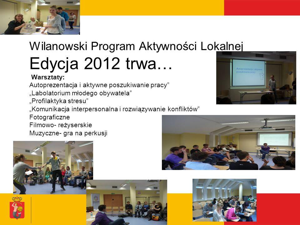 Wilanowski Program Aktywności Lokalnej Edycja 2012 trwa… Warsztaty: Autoprezentacja i aktywne poszukiwanie pracy Labolatorium młodego obywatela Profil