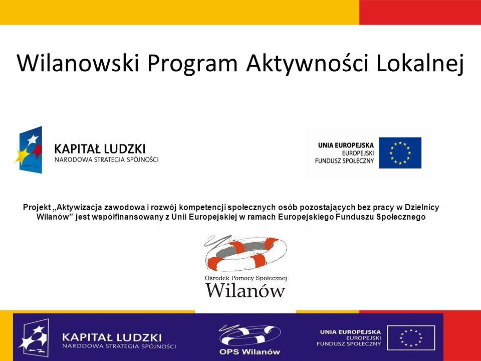 Wilanowski Program Aktywności Lokalnej Projekt Aktywizacja zawodowa i rozwój kompetencji społecznych osób pozostających bez pracy w Dzielnicy Wilanów
