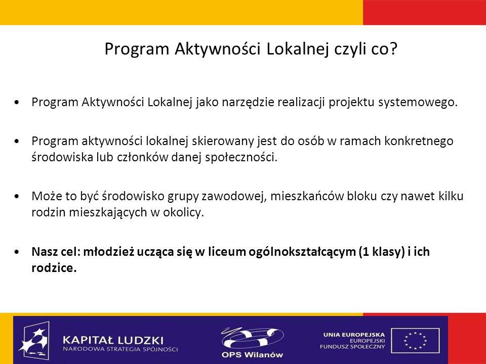 Program Aktywności Lokalnej czyli co? Program Aktywności Lokalnej jako narzędzie realizacji projektu systemowego. Program aktywności lokalnej skierowa