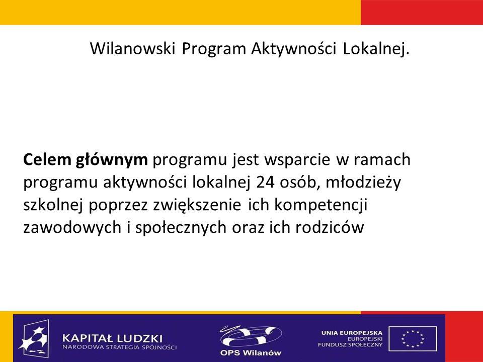 Wilanowski Program Aktywności Lokalnej. Celem głównym programu jest wsparcie w ramach programu aktywności lokalnej 24 osób, młodzieży szkolnej poprzez