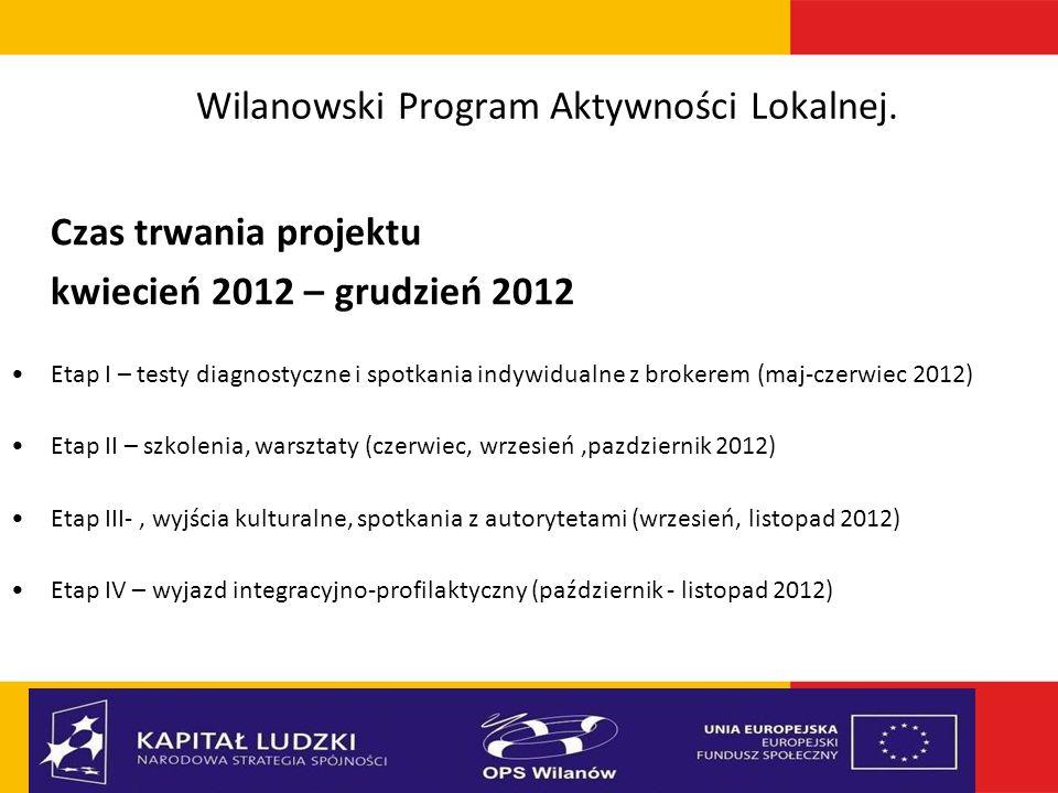 Wilanowski Program Aktywności Lokalnej. Czas trwania projektu kwiecień 2012 – grudzień 2012 Etap I – testy diagnostyczne i spotkania indywidualne z br