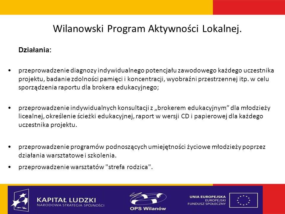 Wilanowski Program Aktywności Lokalnej. Działania: przeprowadzenie diagnozy indywidualnego potencjału zawodowego każdego uczestnika projektu, badanie
