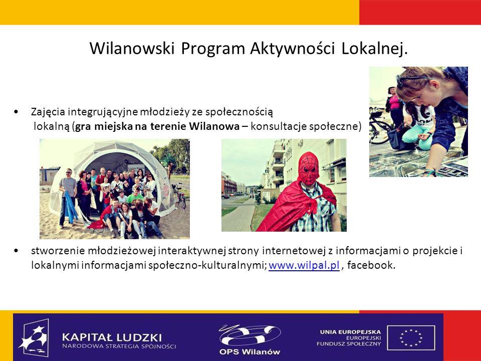 Wilanowski Program Aktywności Lokalnej. Zajęcia integrującyjne młodzieży ze społecznością lokalną (gra miejska na terenie Wilanowa – konsultacje społe