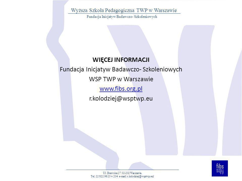 Ul. Drawska 27 02-202 Warszawa Tel. 22 822 96 23 w 204 e-mail: r.kolodziej@wsptwp.eul Fundacja Inicjatyw Badawczo- Szkoleniowych Wyższa Szkoła Pedagog