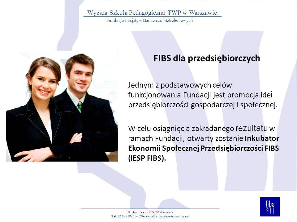 FIBS dla przedsiębiorczych Jednym z podstawowych celów funkcjonowania Fundacji jest promocja ide i przedsiębiorczości gospodarczej i społecznej. W cel