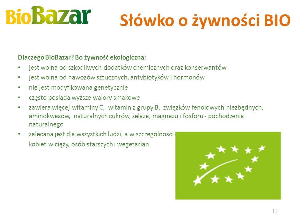 Słówko o żywności BIO Dlaczego BioBazar? Bo żywność ekologiczna: jest wolna od szkodliwych dodatków chemicznych oraz konserwantów jest wolna od nawozó