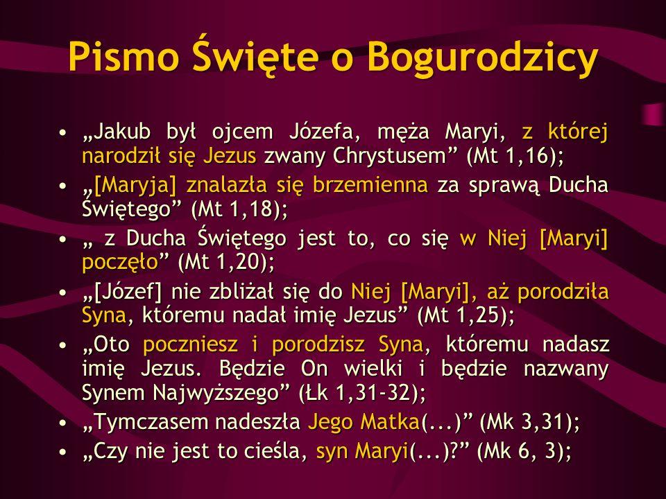Pismo Święte o Bogurodzicy Jakub był ojcem Józefa, męża Maryi, z której narodził się Jezus zwany Chrystusem (Mt 1,16);Jakub był ojcem Józefa, męża Mar