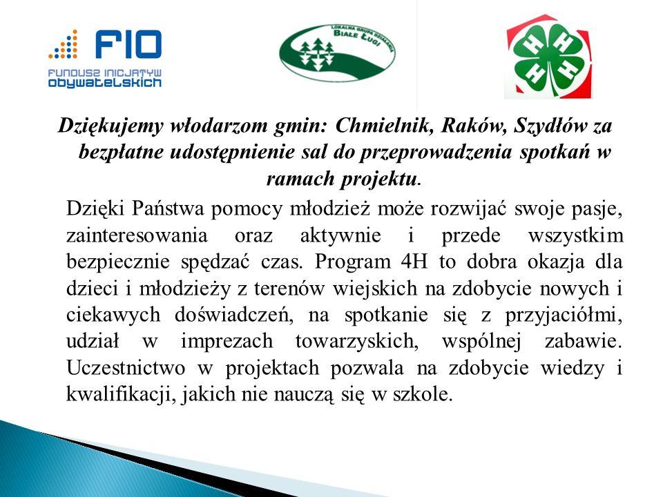Dziękujemy włodarzom gmin: Chmielnik, Raków, Szydłów za bezpłatne udostępnienie sal do przeprowadzenia spotkań w ramach projektu.