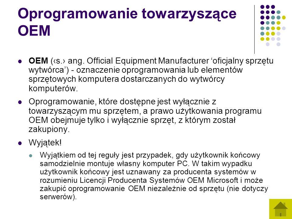 Oprogramowanie towarzyszące OEM OEM (s. ang. Official Equipment Manufacturer oficjalny sprzętu wytwórca) - oznaczenie oprogramowania lub elementów spr