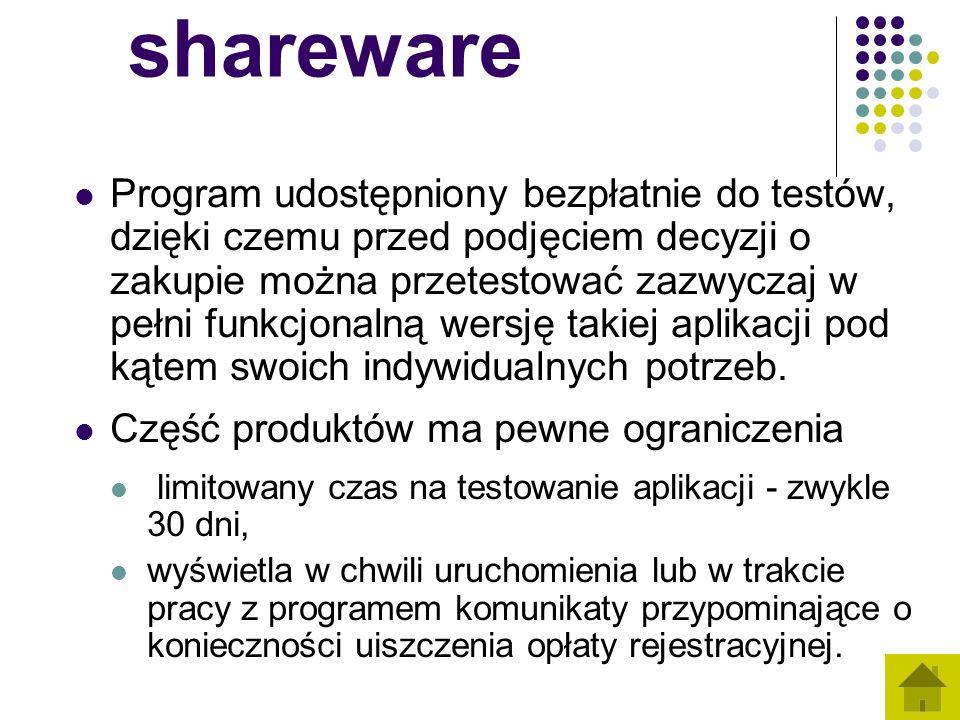 shareware Program udostępniony bezpłatnie do testów, dzięki czemu przed podjęciem decyzji o zakupie można przetestować zazwyczaj w pełni funkcjonalną wersję takiej aplikacji pod kątem swoich indywidualnych potrzeb.