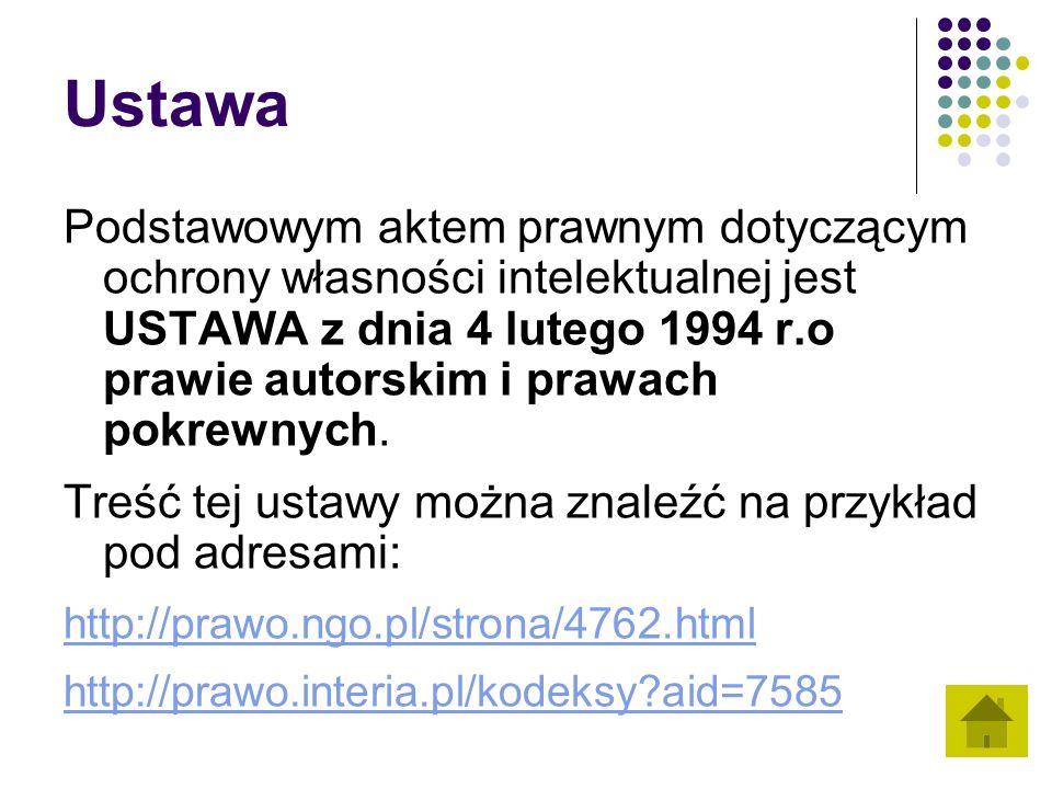 Ustawa Podstawowym aktem prawnym dotyczącym ochrony własności intelektualnej jest USTAWA z dnia 4 lutego 1994 r.o prawie autorskim i prawach pokrewnyc