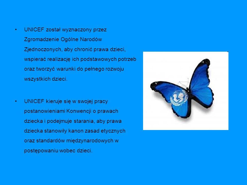 UNICEF został wyznaczony przez Zgromadzenie Ogólne Narodów Zjednoczonych, aby chronić prawa dzieci, wspierać realizację ich podstawowych potrzeb oraz