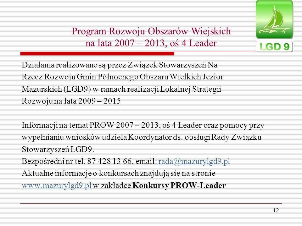 12 Program Rozwoju Obszarów Wiejskich na lata 2007 – 2013, oś 4 Leader Działania realizowane są przez Związek Stowarzyszeń Na Rzecz Rozwoju Gmin Półno