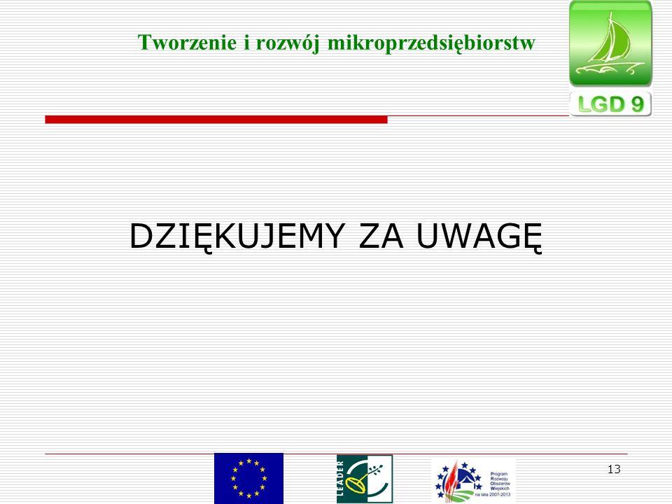 13 Tworzenie i rozwój mikroprzedsiębiorstw DZIĘKUJEMY ZA UWAGĘ