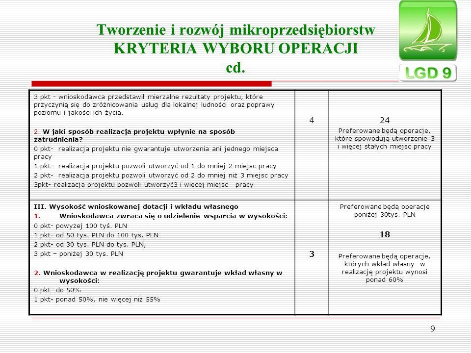 9 Tworzenie i rozwój mikroprzedsiębiorstw KRYTERIA WYBORU OPERACJI cd. 3 pkt - wnioskodawca przedstawił mierzalne rezultaty projektu, które przyczynią