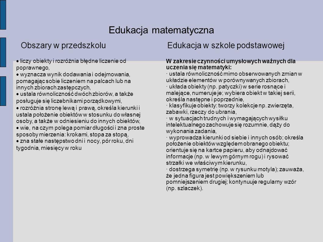 Edukacja matematyczna Obszary w przedszkoluEdukacja w szkole podstawowej liczy obiekty i rozróżnia błędne liczenie od poprawnego, wyznacza wynik dodaw