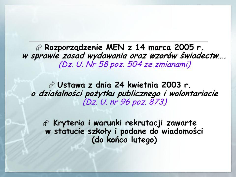 Rekrutacja do gimnazjów od 1 marca 2010 r.do 24 kwietnia 2010 r.