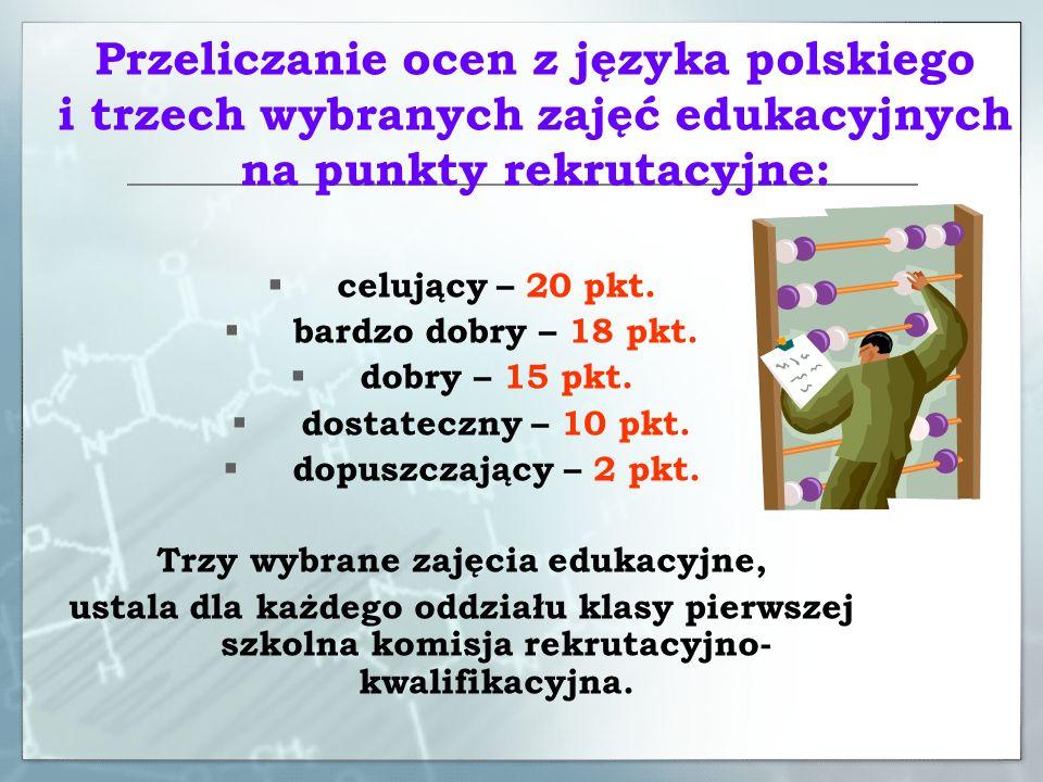 Absolwenci gimnazjum zwolnieni z egzaminu gimnazjalnego przez Dyrektora Okręgowej Komisji Egzaminacyjnej Liczbę punktów za oceny z języka polskiego i trzech wybranych zajęć edukacyjnych przez szkolną komisję rekrutacyjną mnoży się przez dwa.