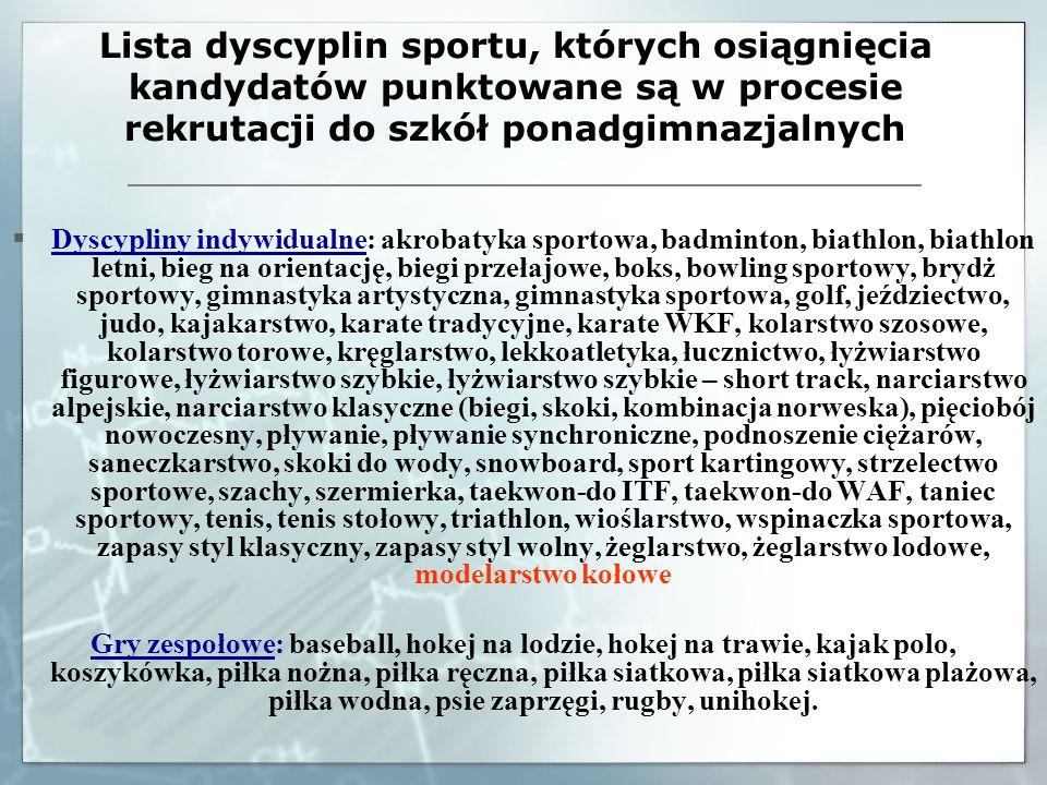OSIĄGNIECIA ARTYSTYCZNE PUNKTYOSIĄGNIĘCIA 1 II-III miejsce w etapie powiatowym 2 I miejsce lub laureat konkursu powiatowego 3 I - III miejsce lub laureat konkursu wojewódzkiego 4 II - III miejsce lub finalista etapu ogólnopolskiego 5 I miejsce lub laureat etapu ogólnopolskiego 6 Reprezentowanie Polski w zawodach i konkursach, w których biorą udział reprezentacje narodowe