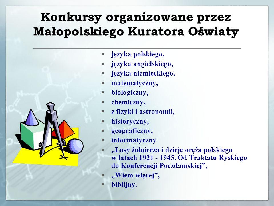 Konkursy tematyczne organizowane przez Małopolskiego Kuratora Oświaty w roku szkolnym 2009/2010 Wiedzy Obywatelskiej i Ekonomicznej 30 rocznica powstania Solidarności i Niezależnego Zrzeszenia Studentów w Małopolsce
