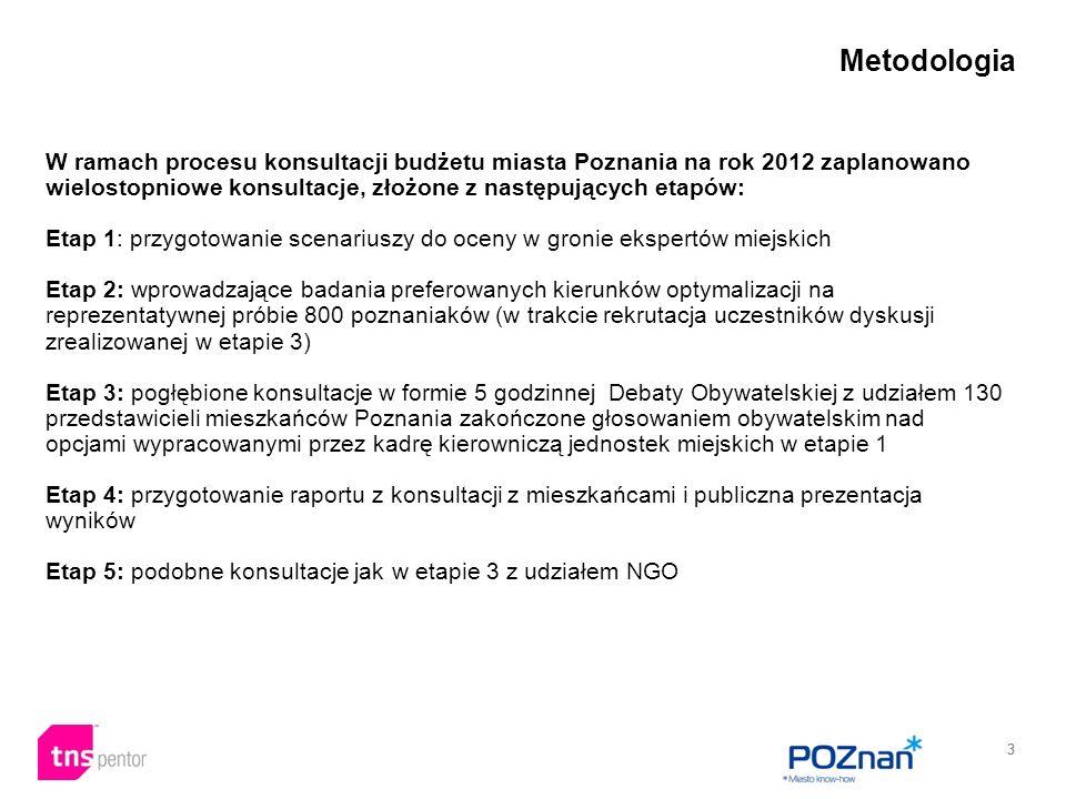 33 W ramach procesu konsultacji budżetu miasta Poznania na rok 2012 zaplanowano wielostopniowe konsultacje, złożone z następujących etapów: Etap 1: przygotowanie scenariuszy do oceny w gronie ekspertów miejskich Etap 2: wprowadzające badania preferowanych kierunków optymalizacji na reprezentatywnej próbie 800 poznaniaków (w trakcie rekrutacja uczestników dyskusji zrealizowanej w etapie 3) Etap 3: pogłębione konsultacje w formie 5 godzinnej Debaty Obywatelskiej z udziałem 130 przedstawicieli mieszkańców Poznania zakończone głosowaniem obywatelskim nad opcjami wypracowanymi przez kadrę kierowniczą jednostek miejskich w etapie 1 Etap 4: przygotowanie raportu z konsultacji z mieszkańcami i publiczna prezentacja wyników Etap 5: podobne konsultacje jak w etapie 3 z udziałem NGO Metodologia