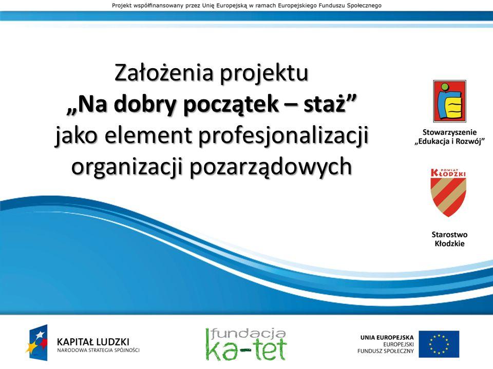 Założenia projektu Na dobry początek – staż jako element profesjonalizacji organizacji pozarządowych