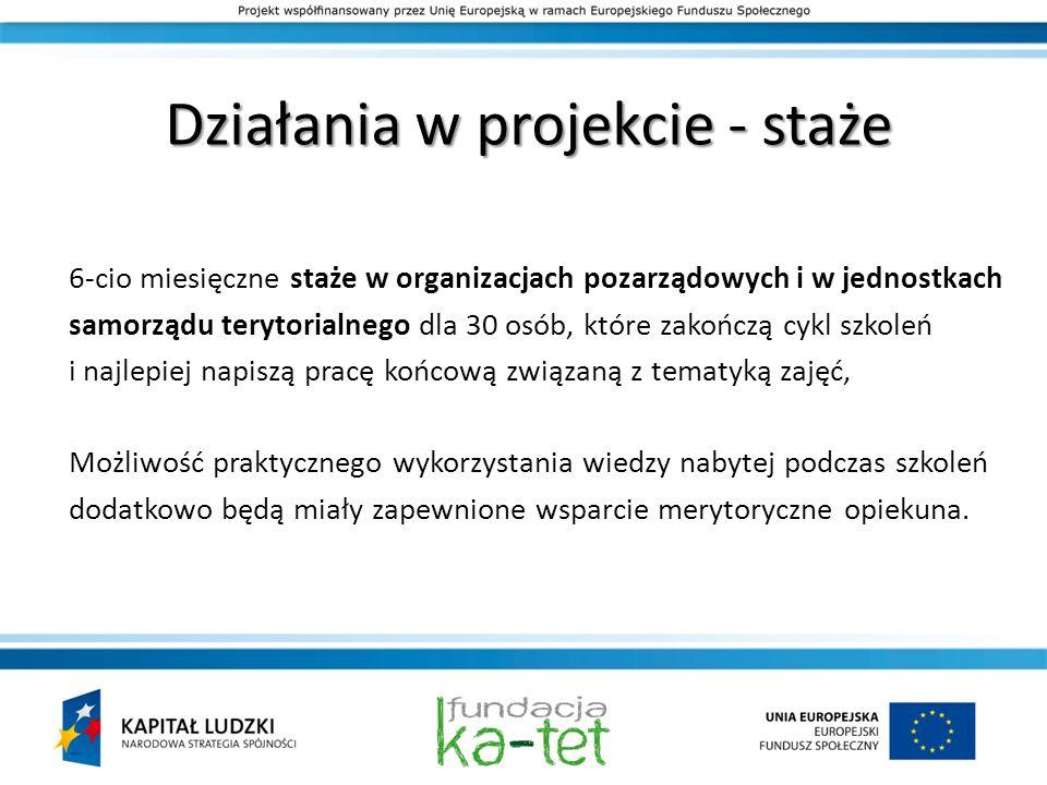 Działania w projekcie - staże 6-cio miesięczne staże w organizacjach pozarządowych i w jednostkach samorządu terytorialnego dla 30 osób, które zakończ