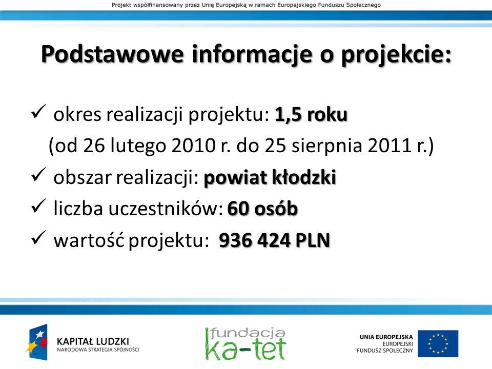 Podstawowe informacje o projekcie: 1,5 roku okres realizacji projektu: 1,5 roku (od 26 lutego 2010 r. do 25 sierpnia 2011 r.) powiat kłodzki obszar re