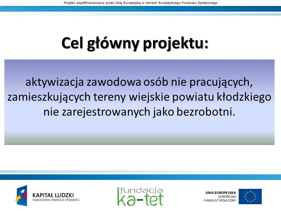 Cel główny projektu: aktywizacja zawodowa osób nie pracujących, zamieszkujących tereny wiejskie powiatu kłodzkiego nie zarejestrowanych jako bezrobotn