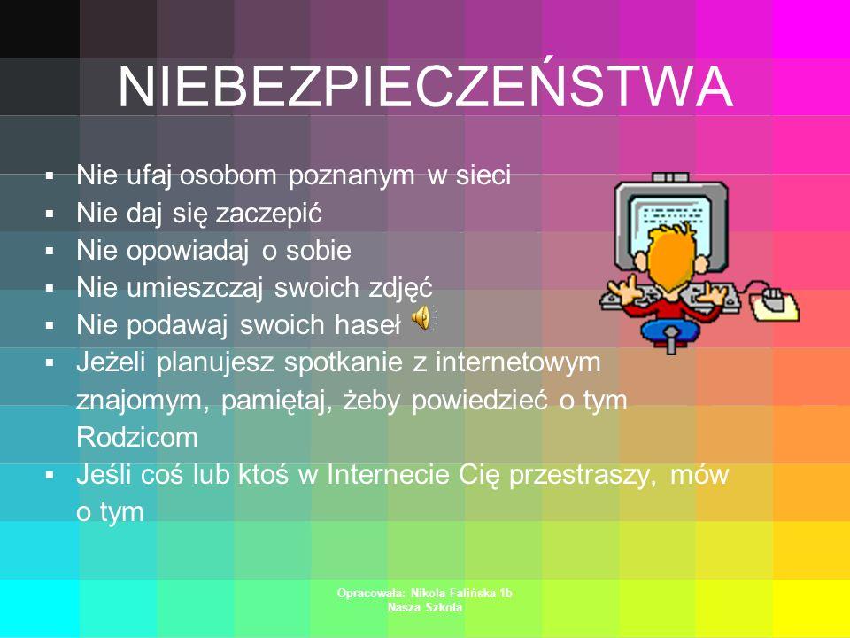 Opracowała: Nikola Falińska 1b Nasza Szkoła DANE Nie podawaj swoich danych osobowych Dane to: imię, nazwisko, adres, telefon Możesz tylko używać Pseud