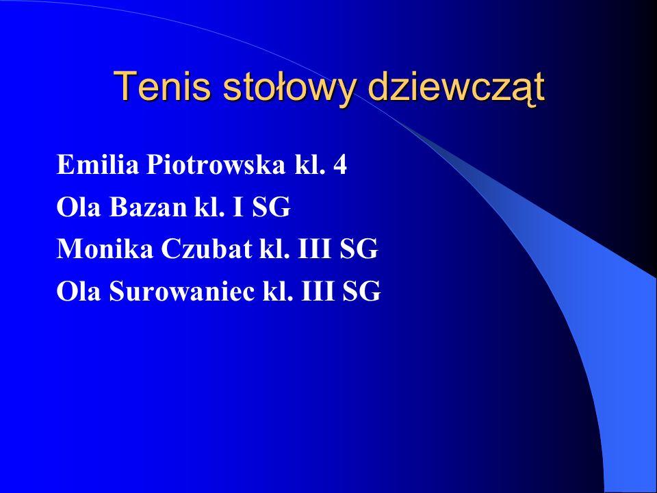 Tenis stołowy dziewcząt Emilia Piotrowska kl. 4 Ola Bazan kl. I SG Monika Czubat kl. III SG Ola Surowaniec kl. III SG