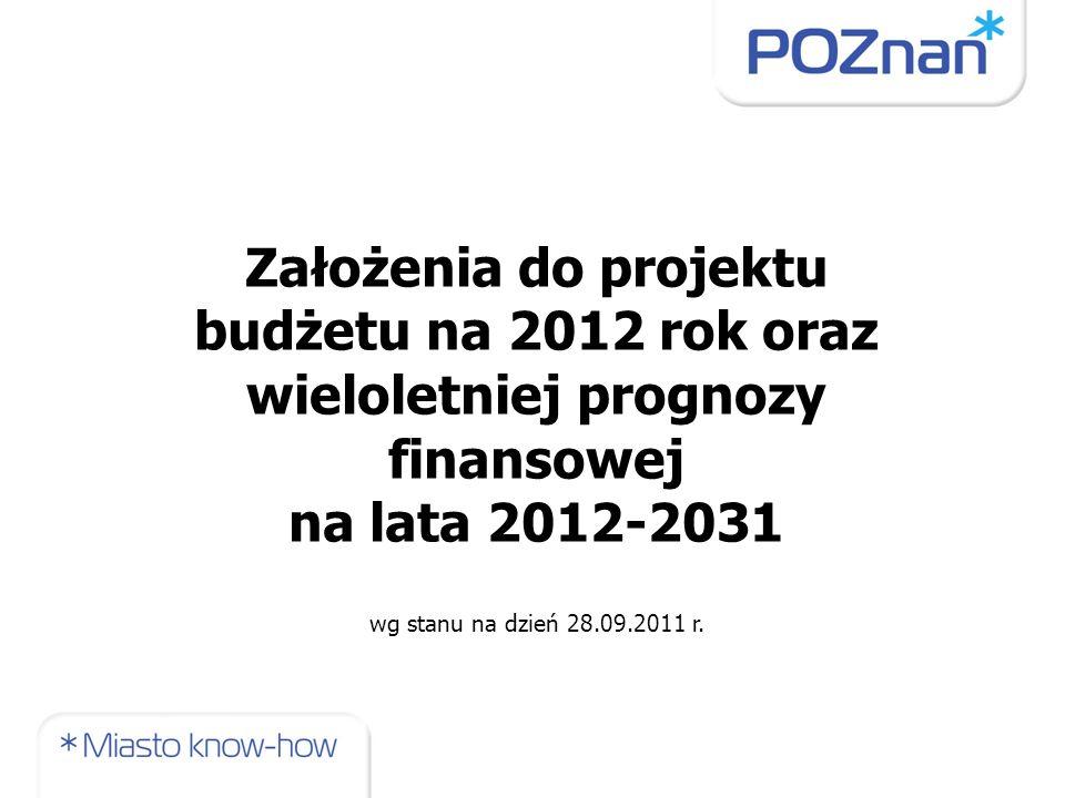 Założenia do projektu budżetu na 2012 rok oraz wieloletniej prognozy finansowej na lata 2012-2031 wg stanu na dzień 28.09.2011 r.