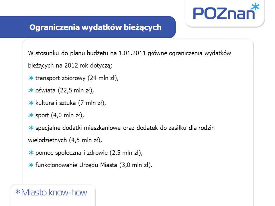 Ograniczenia wydatków bieżących W stosunku do planu budżetu na 1.01.2011 główne ograniczenia wydatków bieżących na 2012 rok dotyczą: transport zbiorow