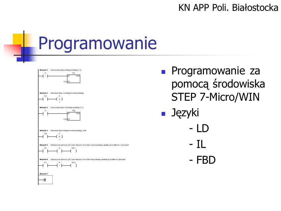 KN APP Poli. Białostocka Programowanie Programowanie za pomocą środowiska STEP 7-Micro/WIN Języki - LD - IL - FBD