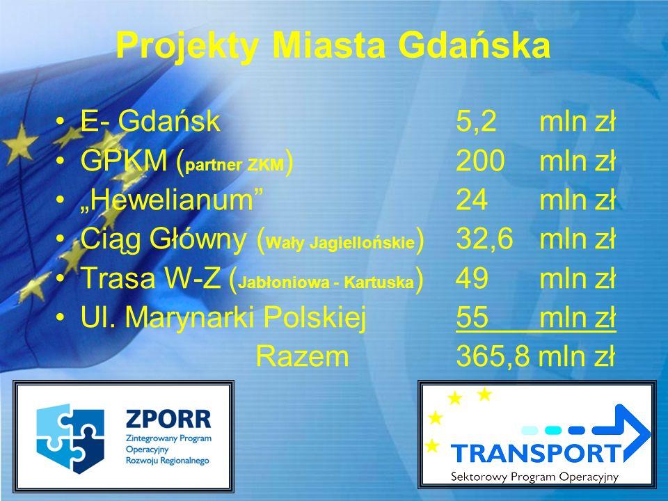 Projekty Miasta Gdańska E- Gdańsk5,2 mln zł GPKM ( partner ZKM )200 mln zł Hewelianum24 mln zł Ciąg Główny ( Wały Jagiellońskie )32,6 mln zł Trasa W-Z ( Jabłoniowa - Kartuska )49 mln zł Ul.