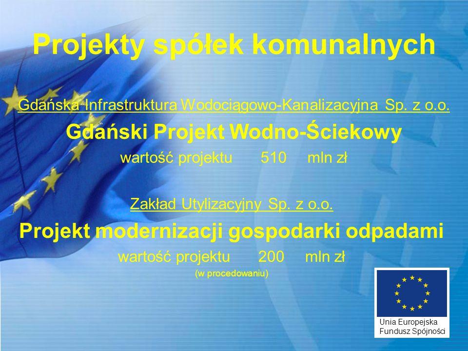 Projekty spółek komunalnych Gdańska Infrastruktura Wodociągowo-Kanalizacyjna Sp. z o.o. Gdański Projekt Wodno-Ściekowy wartość projektu510mln zł Zakła