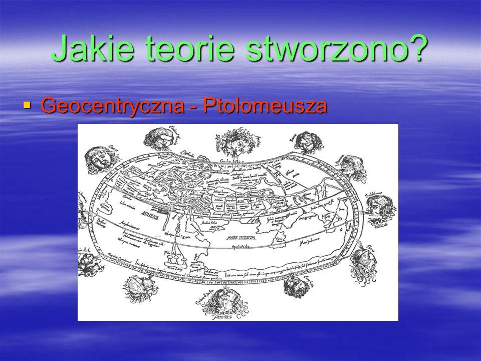 Jakie teorie stworzono? Geocentryczna - Ptolomeusza Geocentryczna - Ptolomeusza