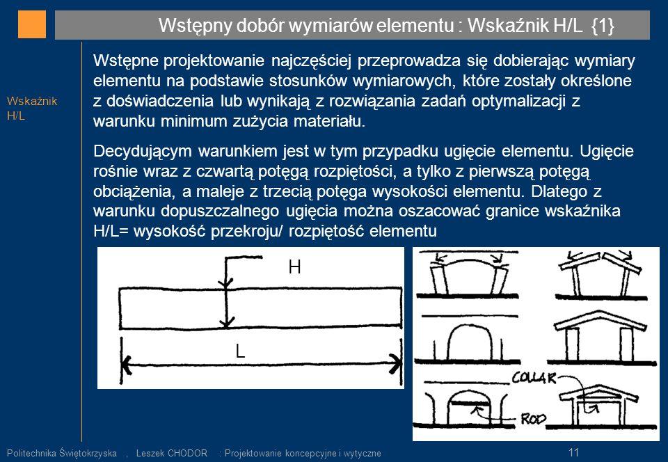Wskaźnik H/L Wstępne projektowanie najczęściej przeprowadza się dobierając wymiary elementu na podstawie stosunków wymiarowych, które zostały określon